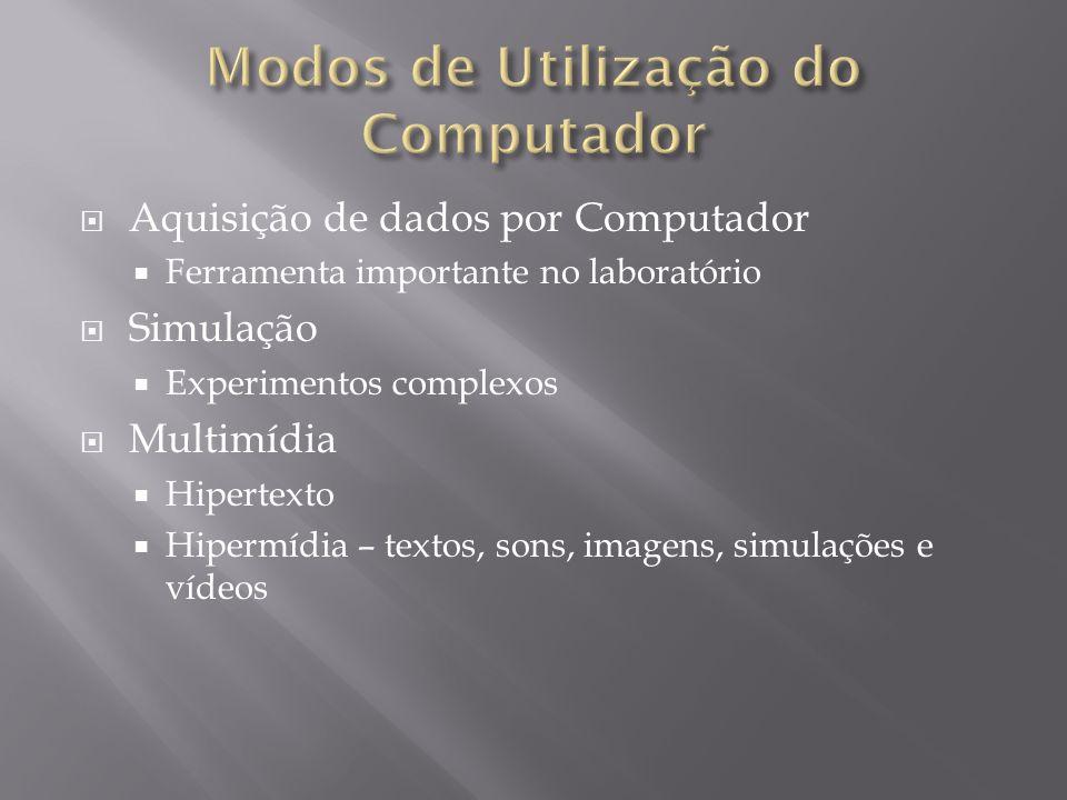 Aquisição de dados por Computador Ferramenta importante no laboratório Simulação Experimentos complexos Multimídia Hipertexto Hipermídia – textos, sons, imagens, simulações e vídeos