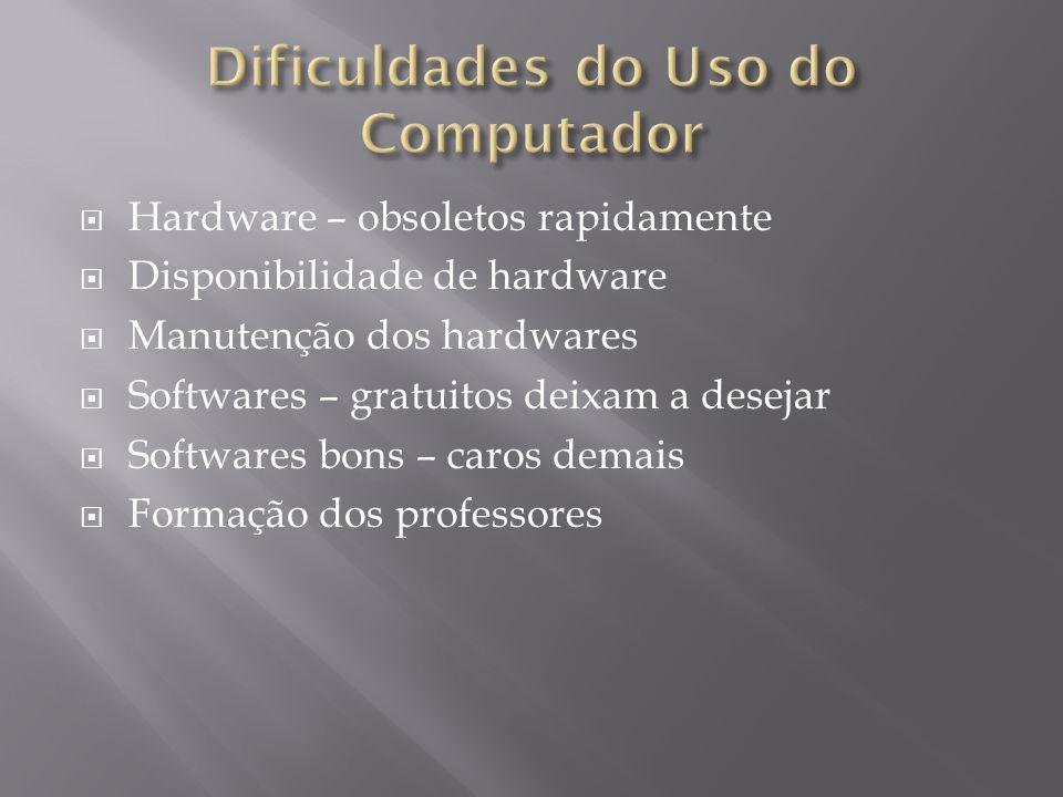 Hardware – obsoletos rapidamente Disponibilidade de hardware Manutenção dos hardwares Softwares – gratuitos deixam a desejar Softwares bons – caros demais Formação dos professores