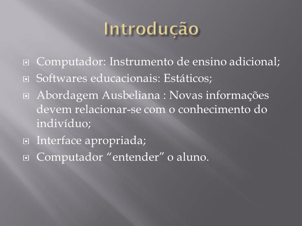 Computador: Instrumento de ensino adicional; Softwares educacionais: Estáticos; Abordagem Ausbeliana : Novas informações devem relacionar-se com o conhecimento do indivíduo; Interface apropriada; Computador entender o aluno.