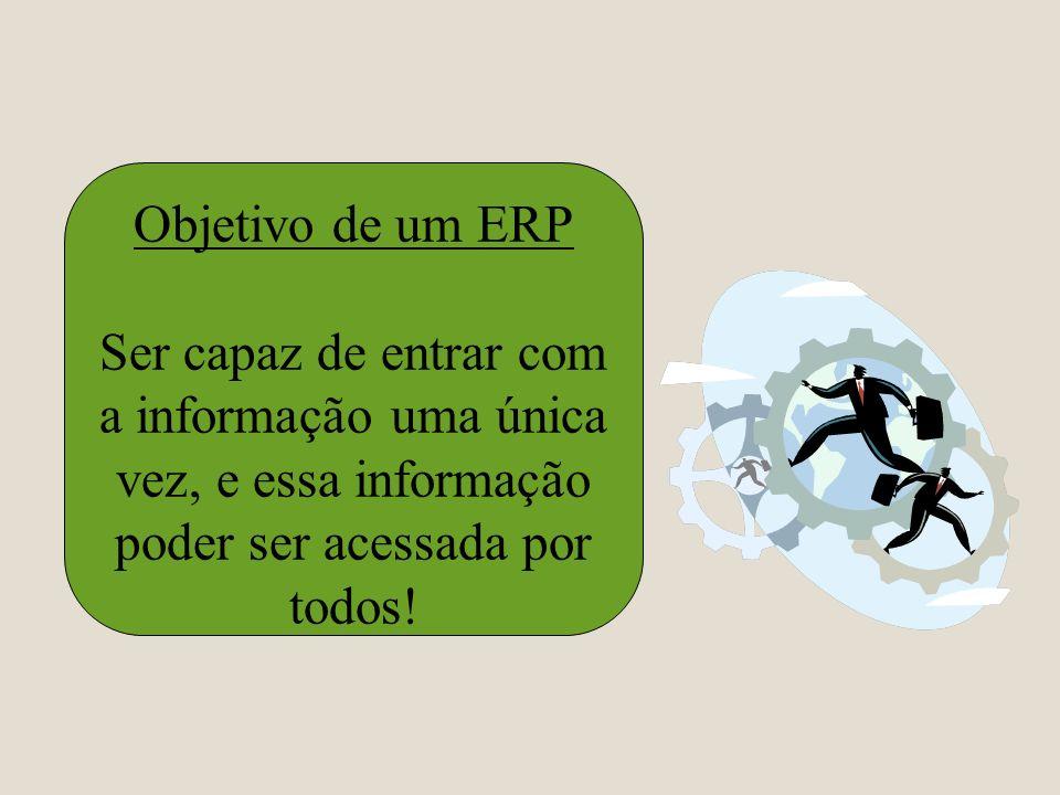 Objetivo de um ERP Ser capaz de entrar com a informação uma única vez, e essa informação poder ser acessada por todos!