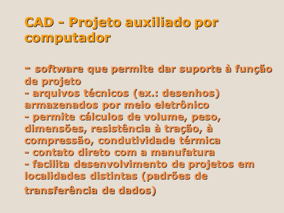 CAD - Projeto auxiliado por computador - software que permite dar suporte à função de projeto - arquivos técnicos (ex.: desenhos) armazenados por meio