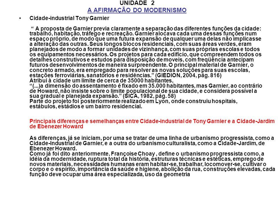 UNIDADE 2 A AFIRMAÇÃO DO MODERNISMO Cidade-industrial Tony Garnier