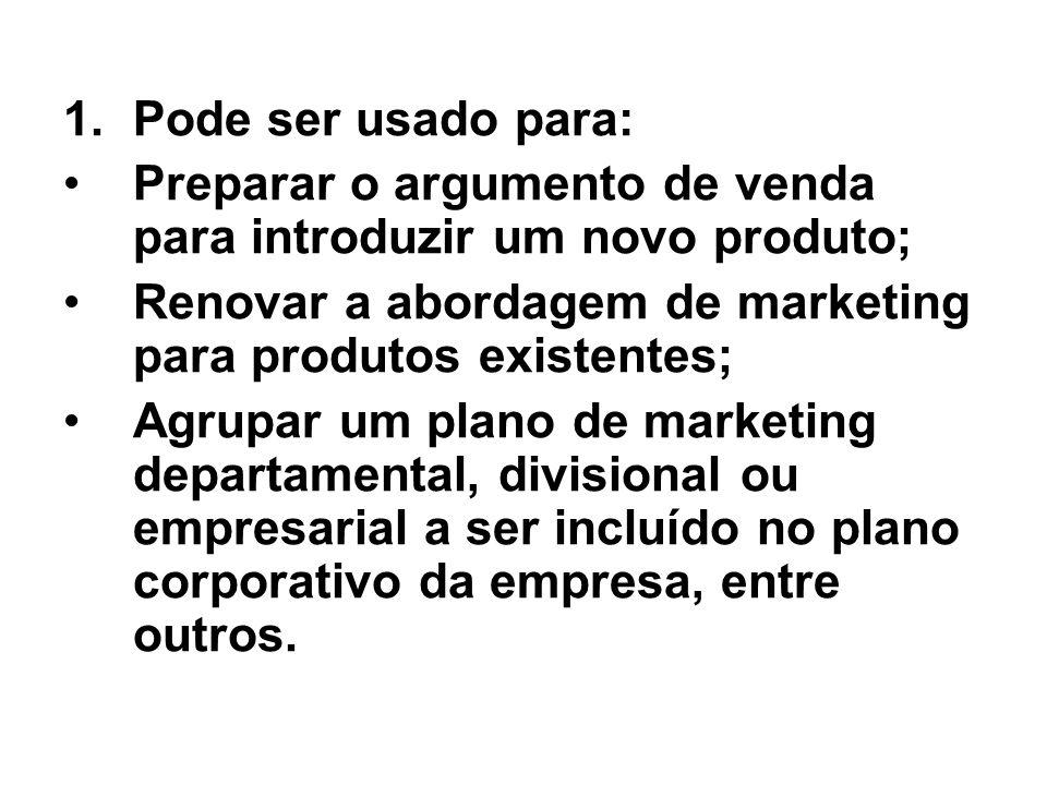 1.Pode ser usado para: Preparar o argumento de venda para introduzir um novo produto; Renovar a abordagem de marketing para produtos existentes; Agrup
