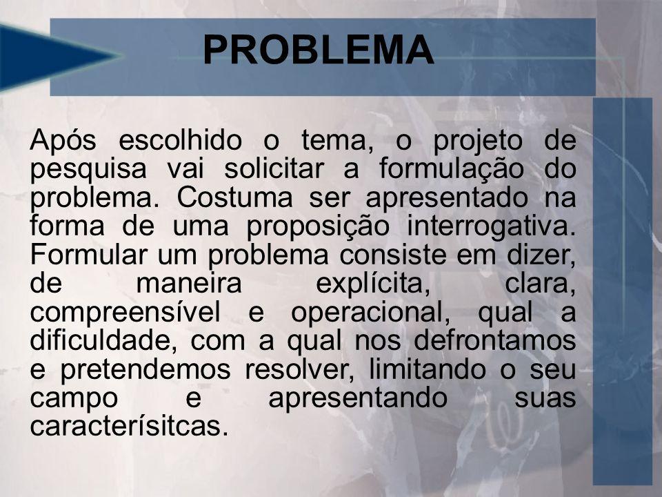 PROBLEMA Após escolhido o tema, o projeto de pesquisa vai solicitar a formulação do problema.