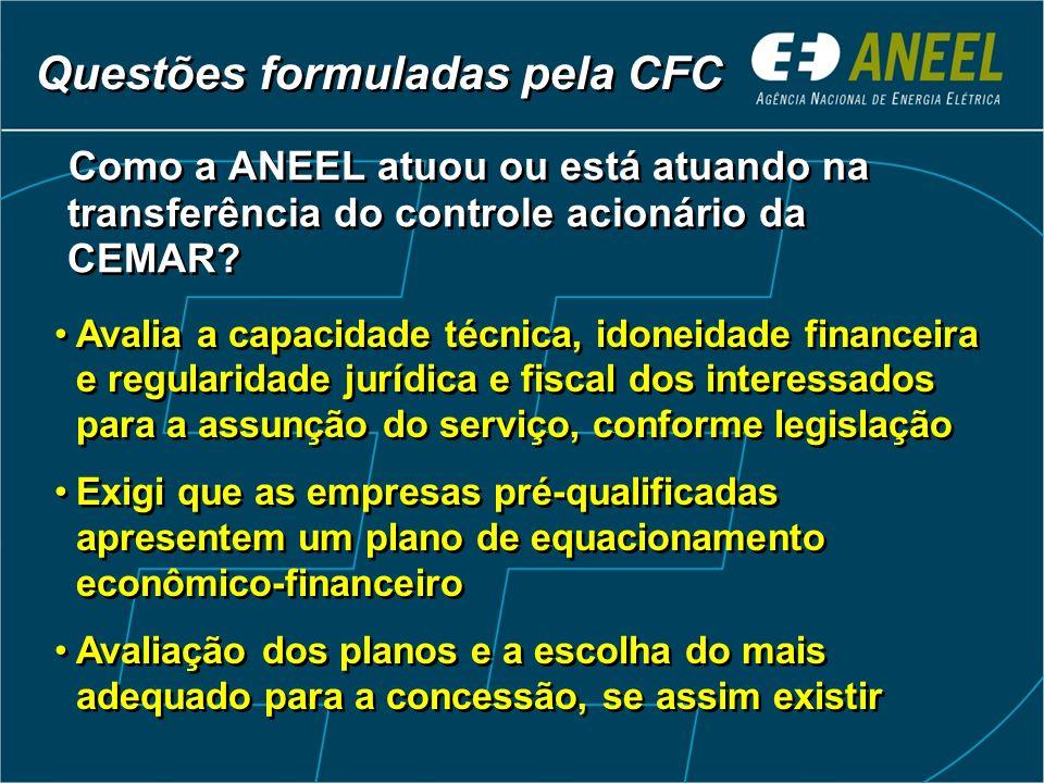 Como a ANEEL atuou ou está atuando na transferência do controle acionário da CEMAR.