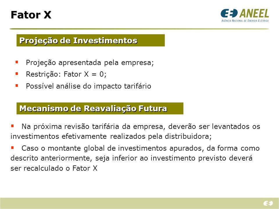 Fator X Projeção de Investimentos Projeção apresentada pela empresa; Restrição: Fator X = 0; Possível análise do impacto tarifário Mecanismo de Reaval