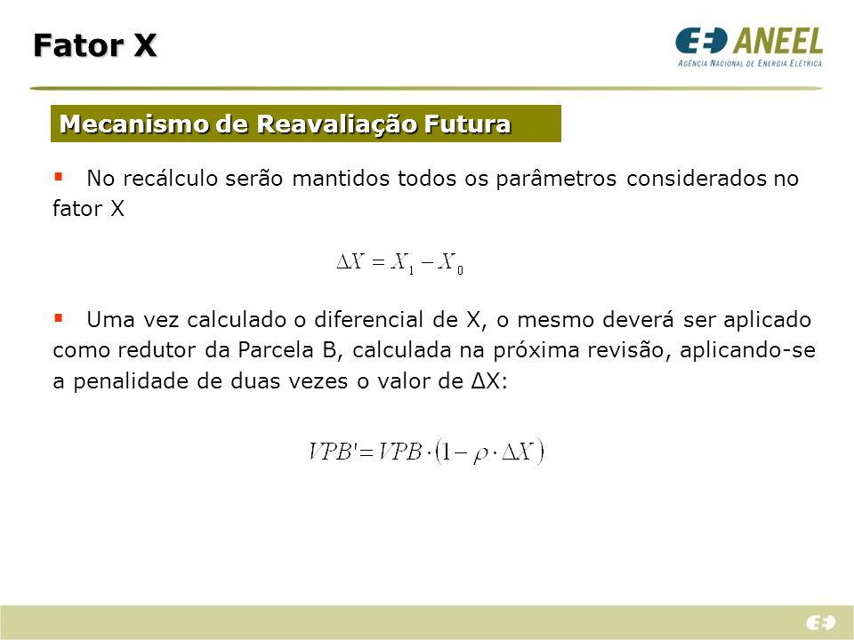 Fator X Mecanismo de Reavaliação Futura No recálculo serão mantidos todos os parâmetros considerados no fator X Uma vez calculado o diferencial de X,
