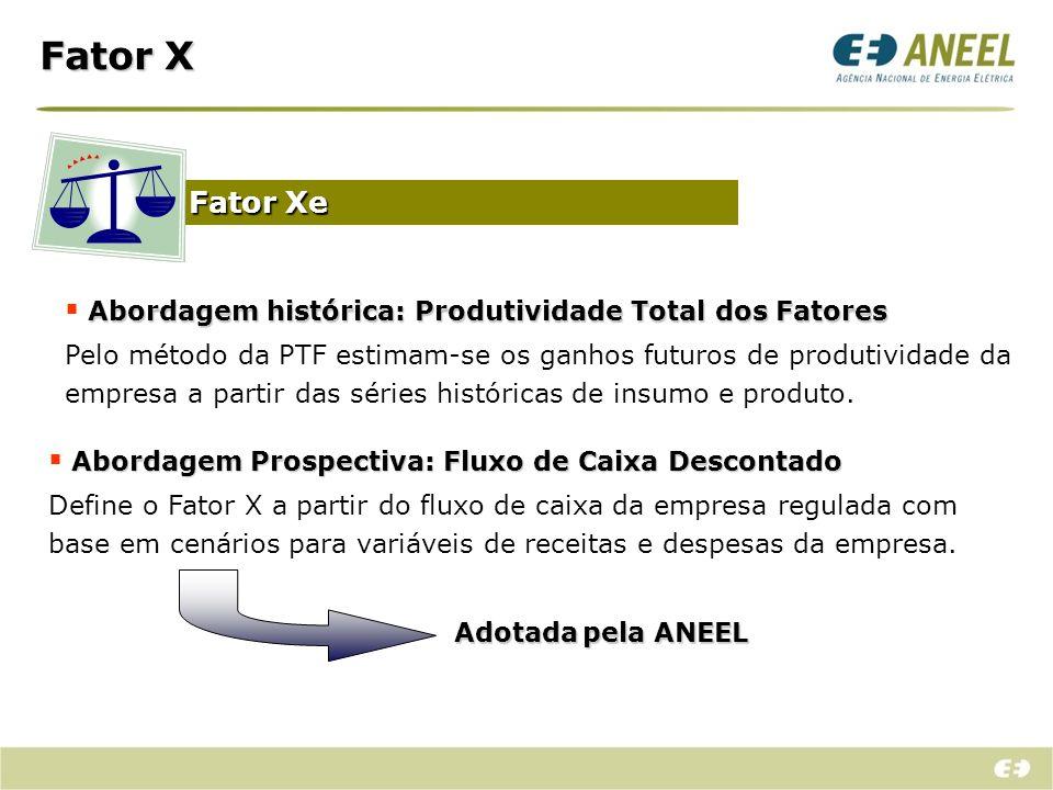 Fator X Fator Xe Abordagem Prospectiva:Fluxo de Caixa Descontado Abordagem Prospectiva: Fluxo de Caixa Descontado Define o Fator X a partir do fluxo d