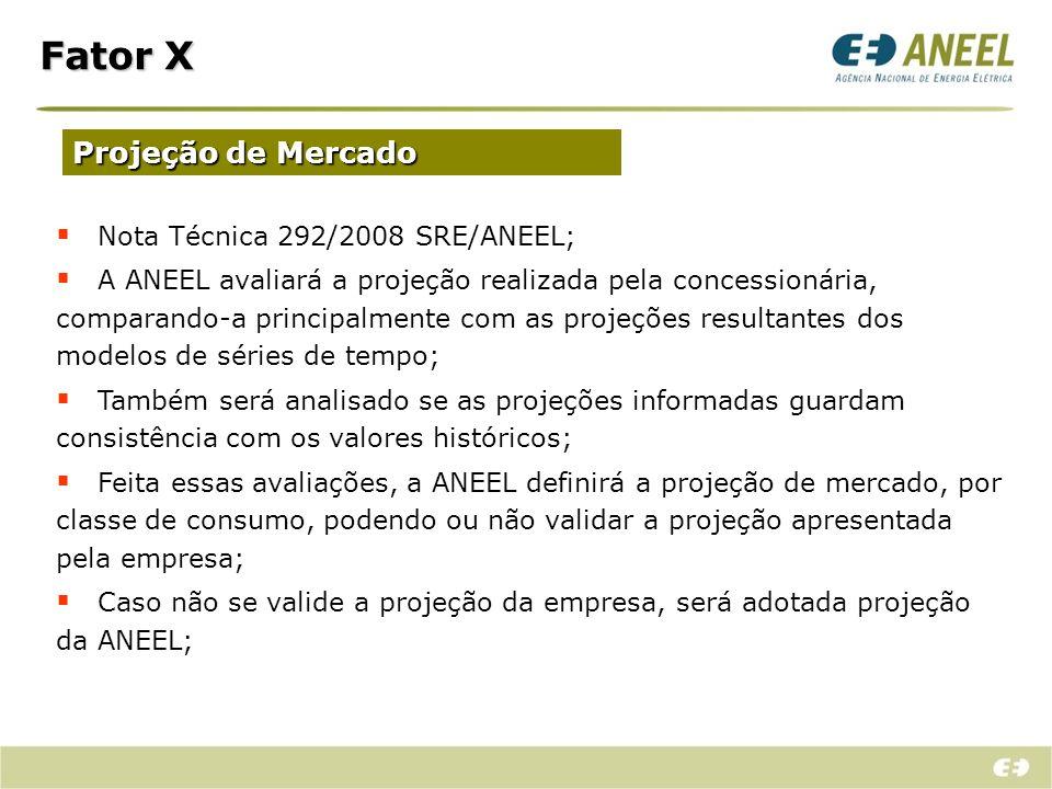 Fator X Projeção de Mercado Nota Técnica 292/2008 SRE/ANEEL; A ANEEL avaliará a projeção realizada pela concessionária, comparando-a principalmente co