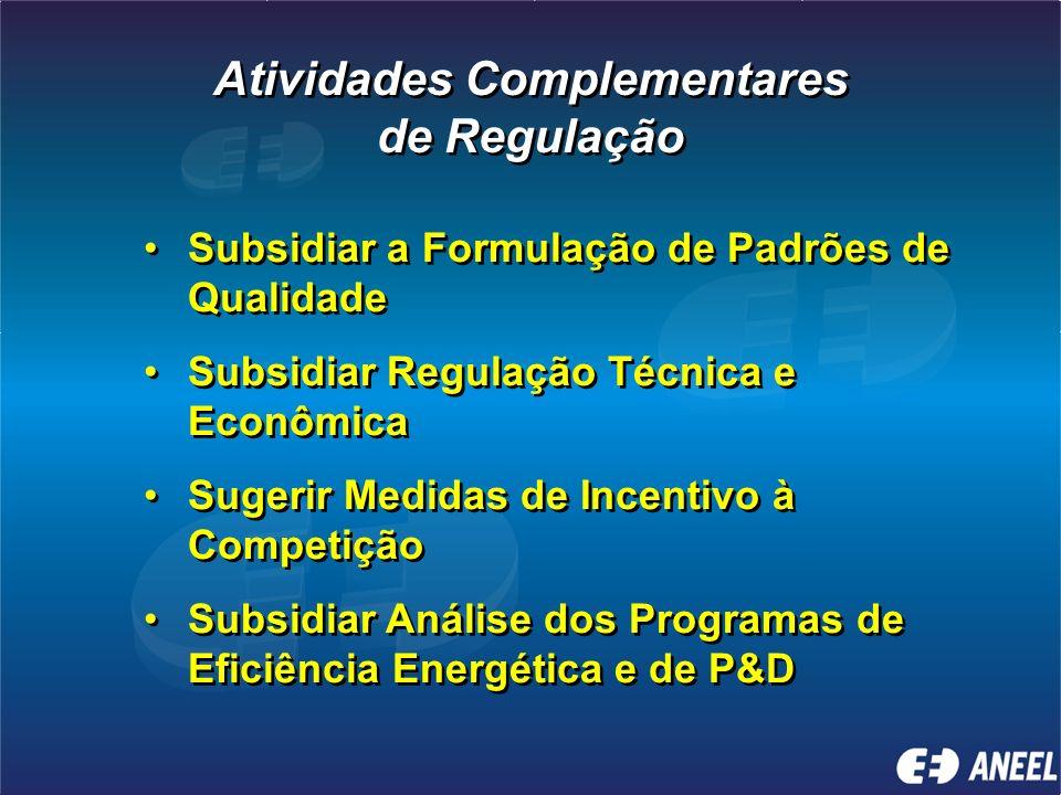 Atividades Complementares de Regulação Atividades Complementares de Regulação Subsidiar a Formulação de Padrões de Qualidade Subsidiar Regulação Técnica e Econômica Sugerir Medidas de Incentivo à Competição Subsidiar Análise dos Programas de Eficiência Energética e de P&D Subsidiar a Formulação de Padrões de Qualidade Subsidiar Regulação Técnica e Econômica Sugerir Medidas de Incentivo à Competição Subsidiar Análise dos Programas de Eficiência Energética e de P&D