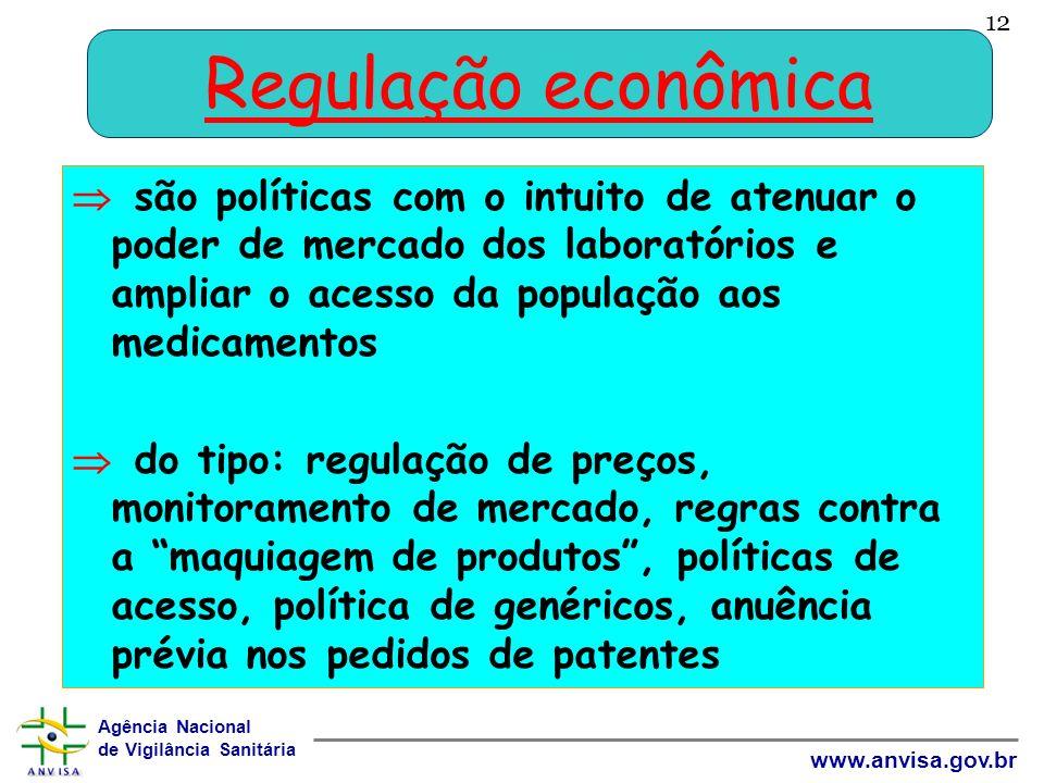 Agência Nacional de Vigilância Sanitária www.anvisa.gov.br 12 Regulação econômica são políticas com o intuito de atenuar o poder de mercado dos labora