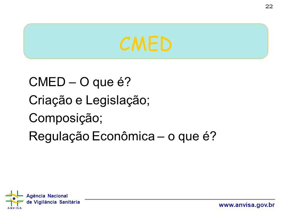 Agência Nacional de Vigilância Sanitária www.anvisa.gov.br 22 CMED CMED – O que é? Criação e Legislação; Composição; Regulação Econômica – o que é?