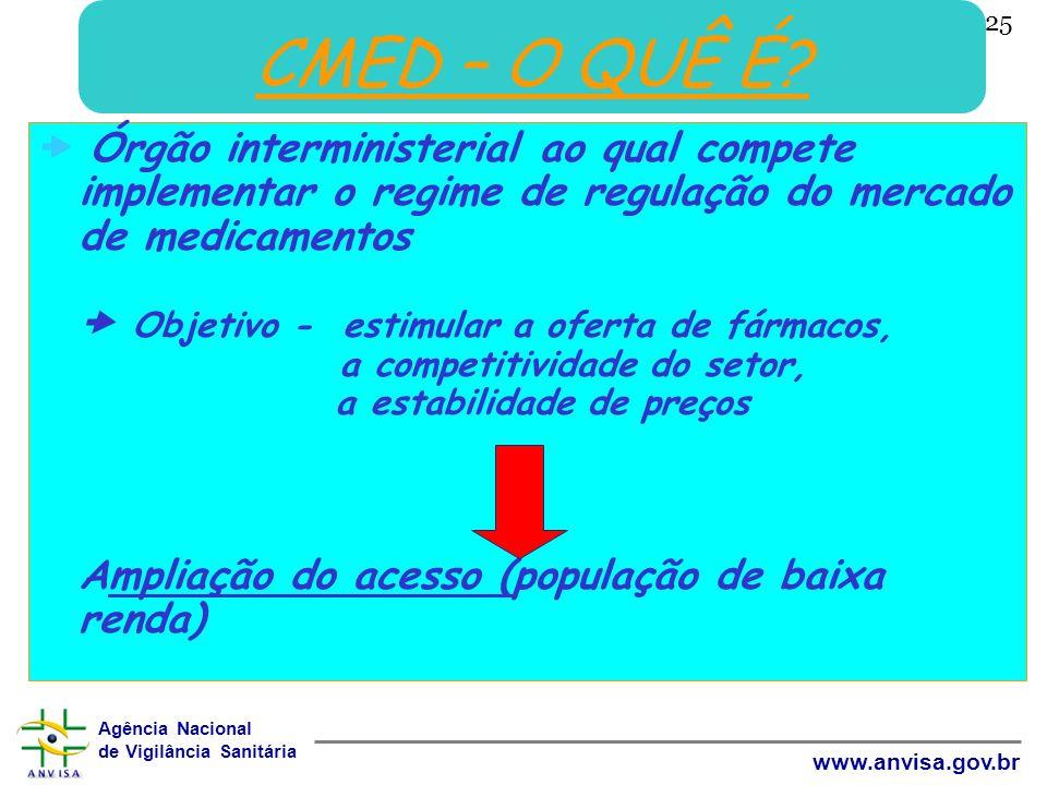 Agência Nacional de Vigilância Sanitária www.anvisa.gov.br 25 CMED – O QUÊ É? Órgão interministerial ao qual compete implementar o regime de regulação