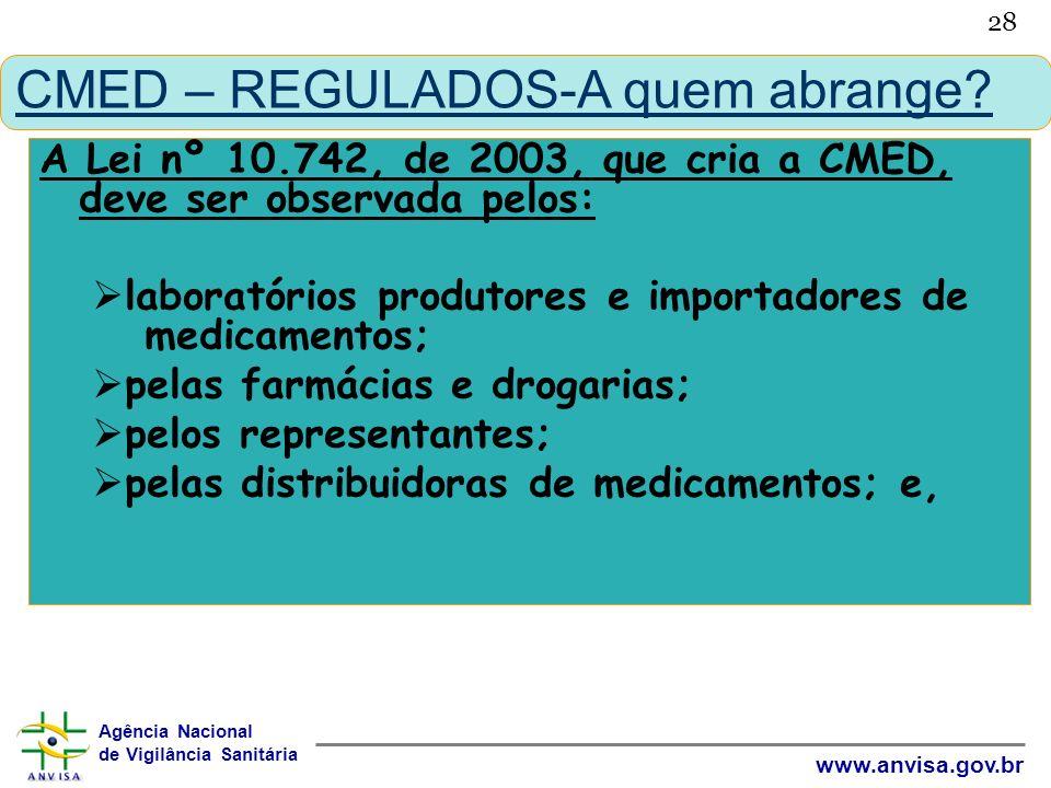 Agência Nacional de Vigilância Sanitária www.anvisa.gov.br 28 CMED – REGULADOS-A quem abrange? A Lei nº 10.742, de 2003, que cria a CMED, deve ser obs