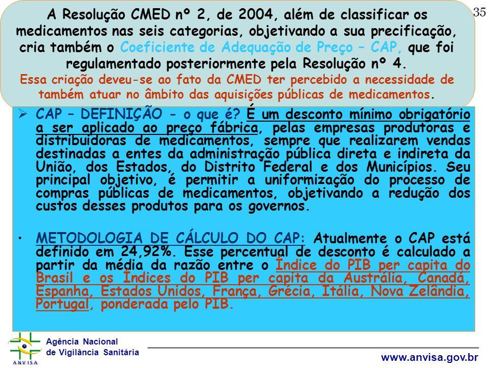 Agência Nacional de Vigilância Sanitária www.anvisa.gov.br 35 A Resolução CMED nº 2, de 2004, além de classificar os medicamentos nas seis categorias,