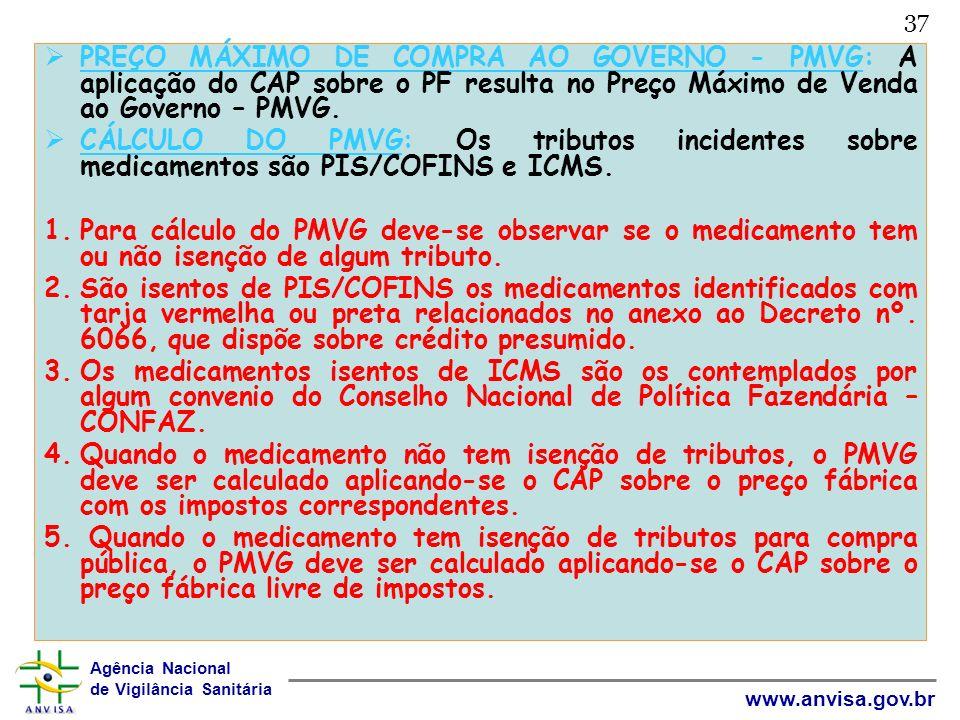 Agência Nacional de Vigilância Sanitária www.anvisa.gov.br 37 PREÇO MÁXIMO DE COMPRA AO GOVERNO - PMVG: A aplicação do CAP sobre o PF resulta no Preço