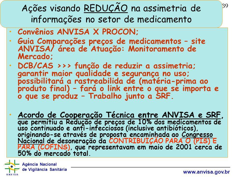 Agência Nacional de Vigilância Sanitária www.anvisa.gov.br 39 Ações visando REDUÇÃO na assimetria de informações no setor de medicamento Convênios ANV