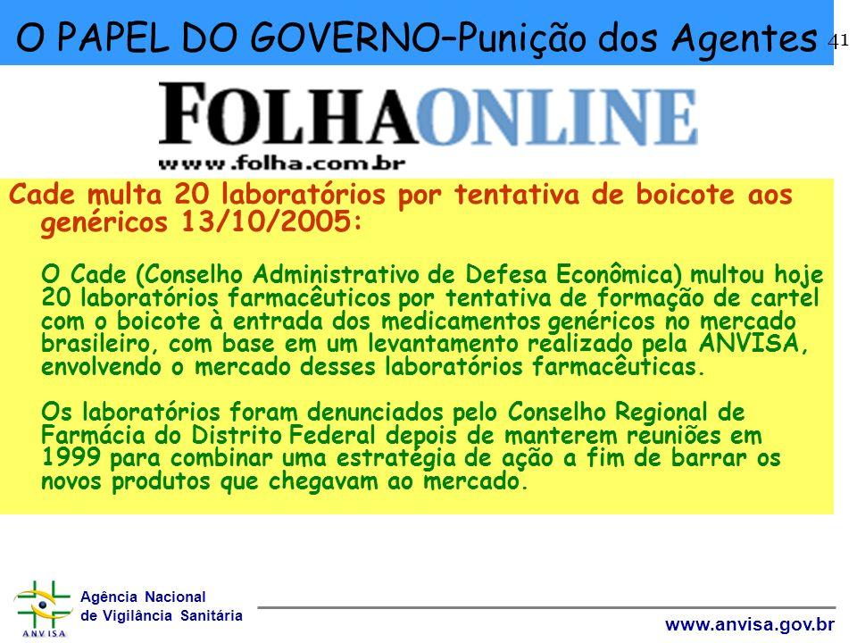 Agência Nacional de Vigilância Sanitária www.anvisa.gov.br 41 O PAPEL DO GOVERNO–Punição dos Agentes Cade multa 20 laboratórios por tentativa de boico