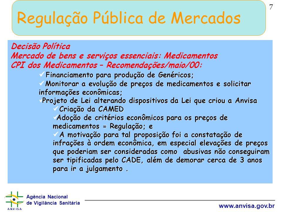 Agência Nacional de Vigilância Sanitária www.anvisa.gov.br 7 Regulação Pública de Mercados Decisão Política Mercado de bens e serviços essenciais: Med