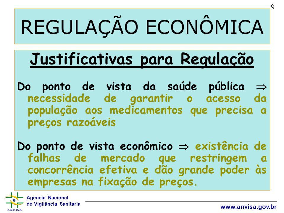 Agência Nacional de Vigilância Sanitária www.anvisa.gov.br REGULAÇÃO ECONÔMICA Justificativas para Regulação Do ponto de vista da saúde pública necess
