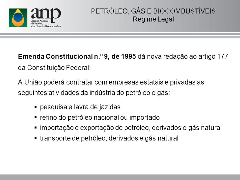 PETRÓLEO, GÁS E BIOCOMBUSTÍVEIS Regime Legal Lei nº 9.478, de 1997 - Lei do Petróleo Cria as Rodadas de Licitações – único meio legal para a concessão do direito ao exercício das atividade relacionadas ao setor; Estabelece os princípios e objetivos da Política Energética Nacional; Cria o Conselho Nacional de Política Energética – CNPE; Institui a ANP, como órgão regulador da indústria do petróleo; Define atribuições, estrutura organizacional e funcionamento da ANP.