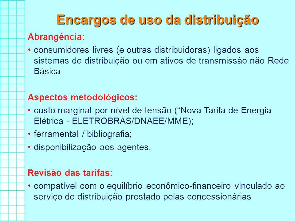 Encargos de uso da distribuição Abrangência: consumidores livres (e outras distribuidoras) ligados aos sistemas de distribuição ou em ativos de transm