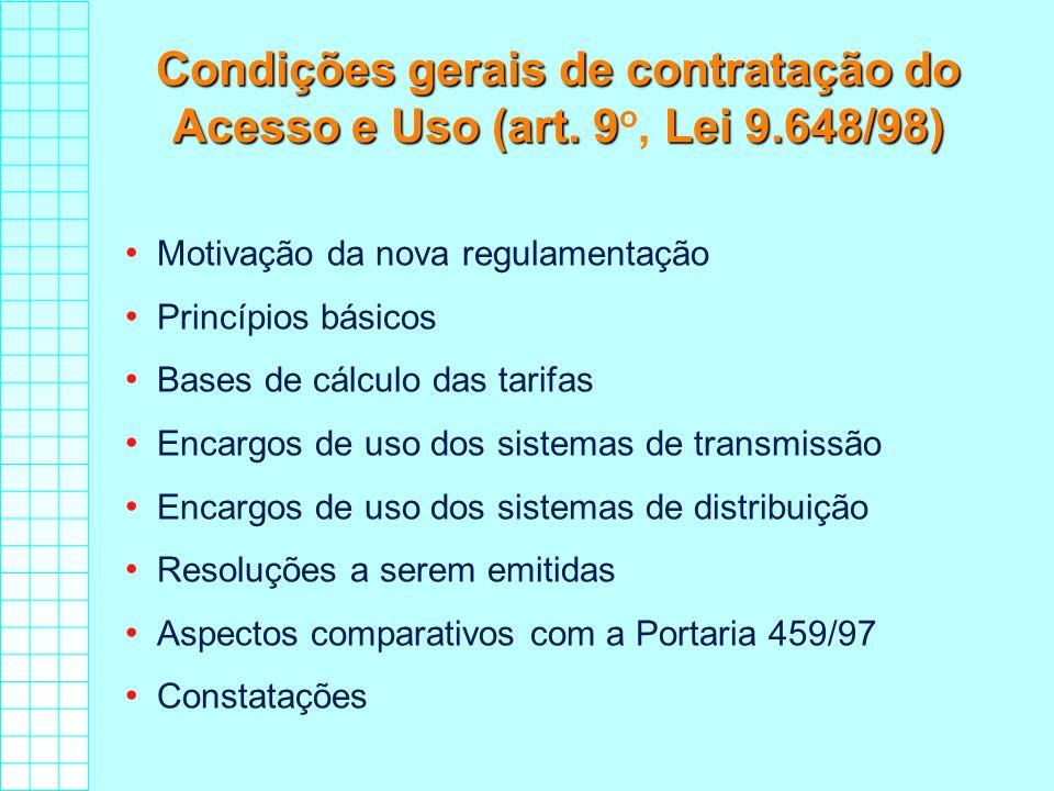 Condições gerais de contratação do Acesso e Uso (art. 9Lei 9.648/98) Condições gerais de contratação do Acesso e Uso (art. 9 o, Lei 9.648/98) Motivaçã