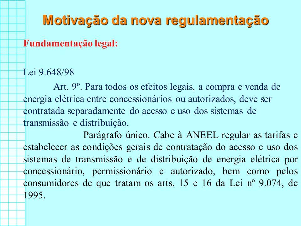 Motivação da nova regulamentação Fundamentação legal: Lei 9.648/98 Art. 9º. Para todos os efeitos legais, a compra e venda de energia elétrica entre c