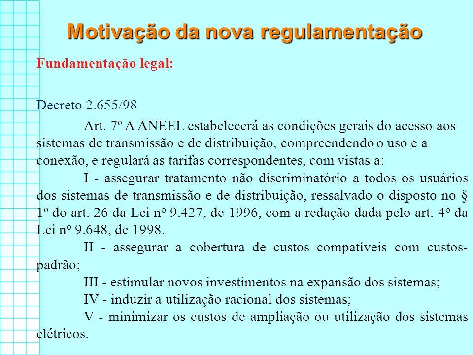Motivação da nova regulamentação Fundamentação legal: Decreto 2.655/98 Art. 7º A ANEEL estabelecerá as condições gerais do acesso aos sistemas de tran