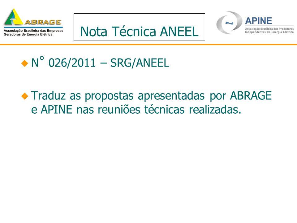 Nota Técnica ANEEL N ° 026/2011 – SRG/ANEEL Traduz as propostas apresentadas por ABRAGE e APINE nas reuniões técnicas realizadas.