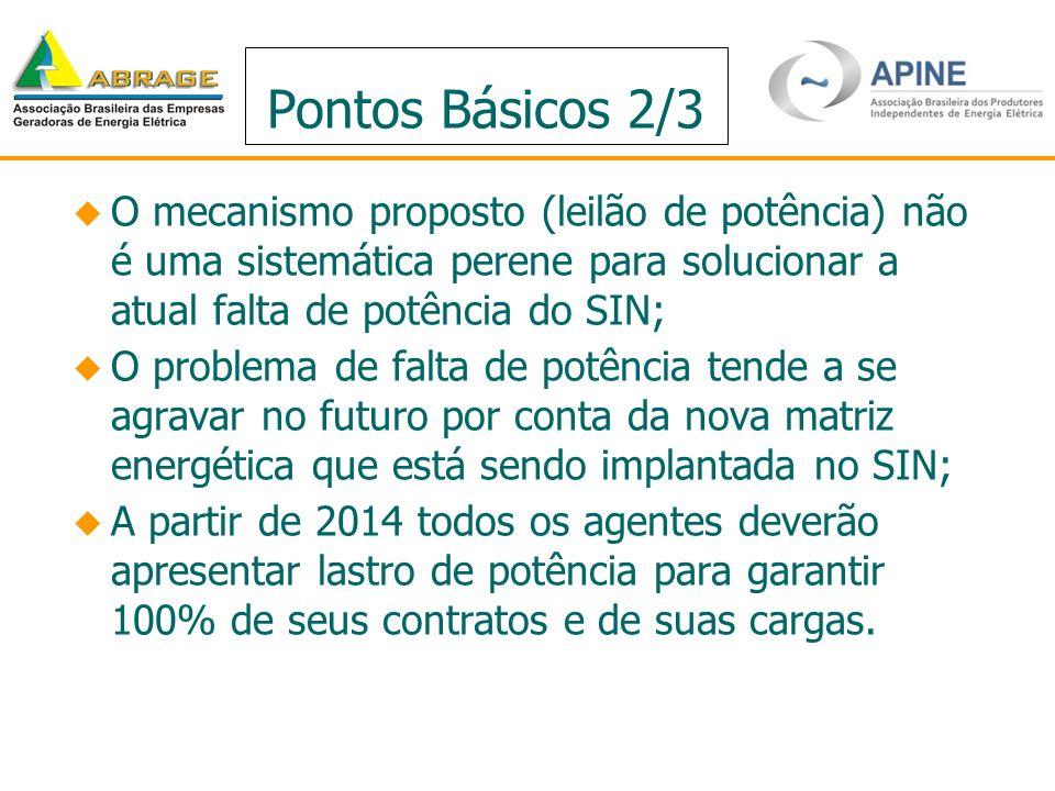 Pontos Básicos 2/3 O mecanismo proposto (leilão de potência) não é uma sistemática perene para solucionar a atual falta de potência do SIN; O problema