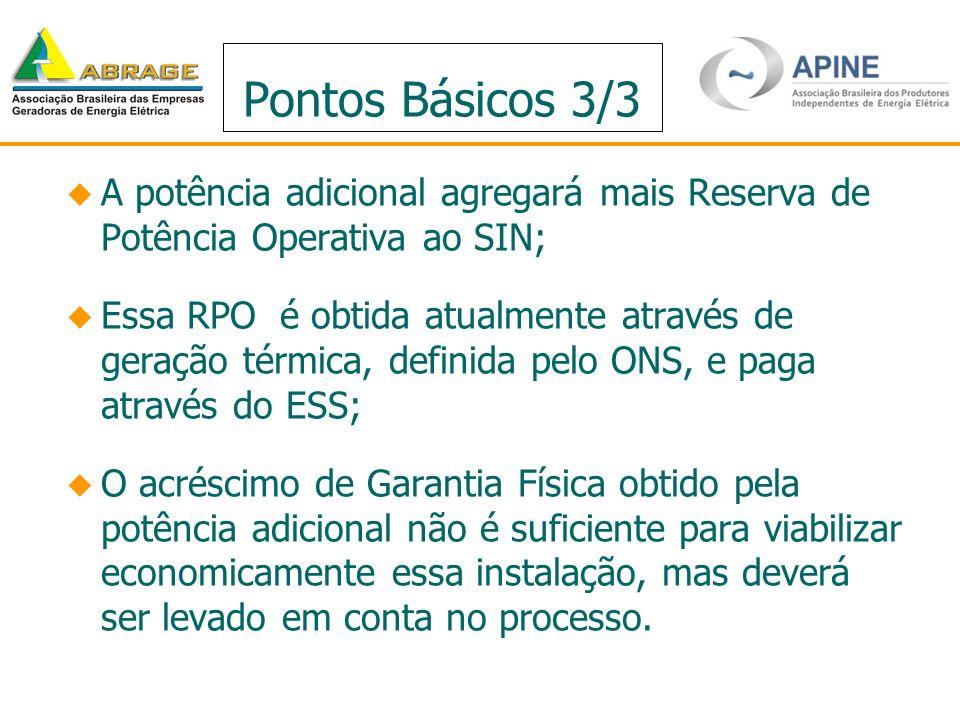 Pontos Básicos 3/3 A potência adicional agregará mais Reserva de Potência Operativa ao SIN; Essa RPO é obtida atualmente através de geração térmica, d