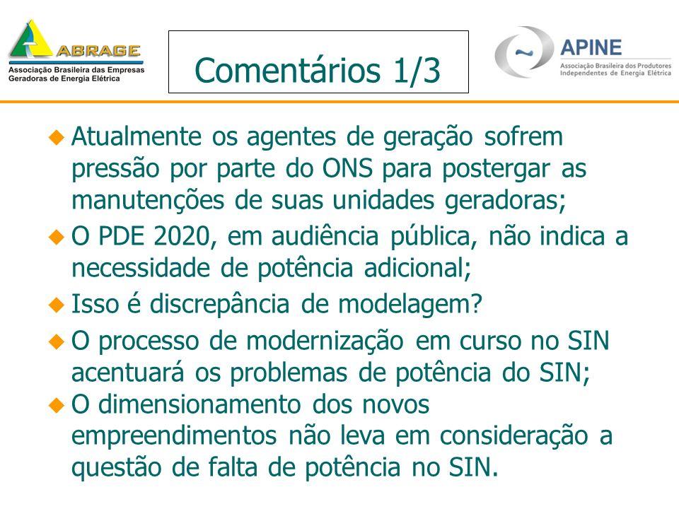 Comentários 1/3 Atualmente os agentes de geração sofrem pressão por parte do ONS para postergar as manutenções de suas unidades geradoras; O PDE 2020,