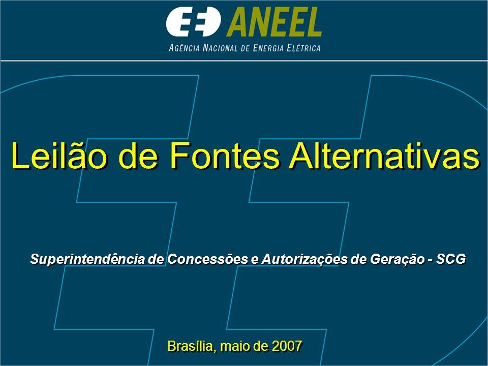 Leilão de Fontes Alternativas Brasília, maio de 2007 Superintendência de Concessões e Autorizações de Geração - SCG