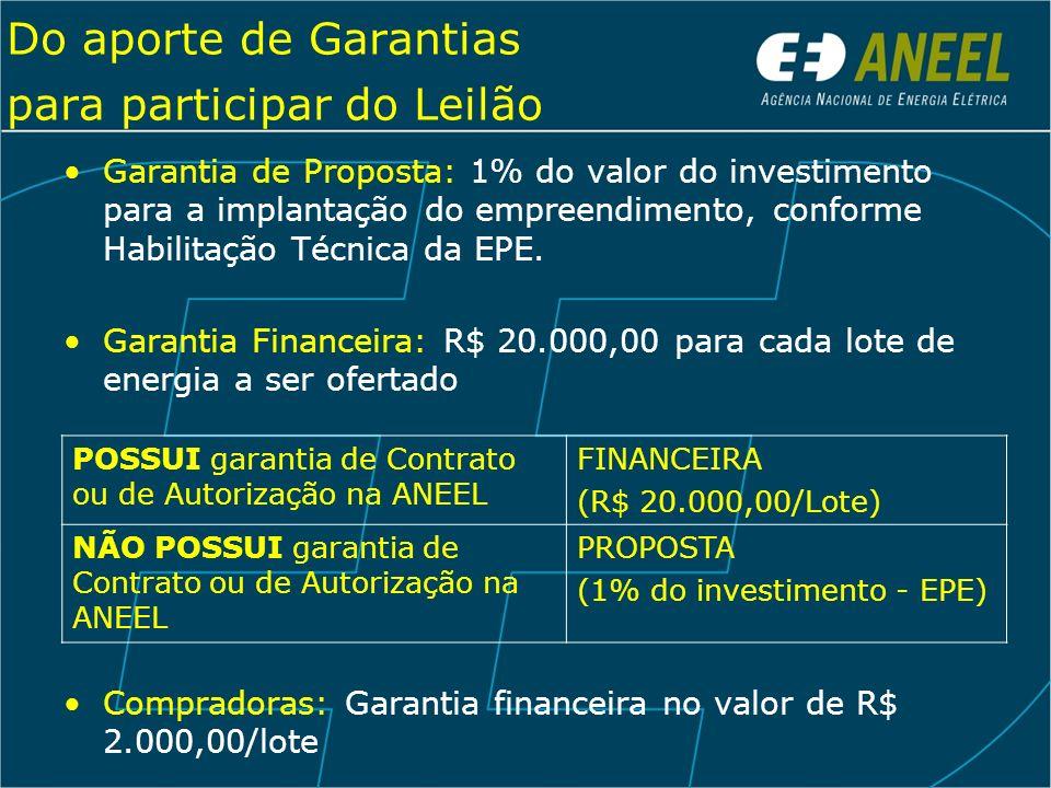 Do aporte de Garantias para participar do Leilão Garantia de Proposta: 1% do valor do investimento para a implantação do empreendimento, conforme Habi
