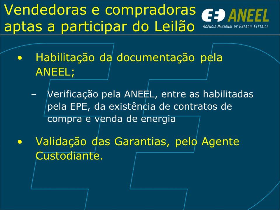 Vendedoras e compradoras aptas a participar do Leilão Habilitação da documentação pela ANEEL; –Verificação pela ANEEL, entre as habilitadas pela EPE,