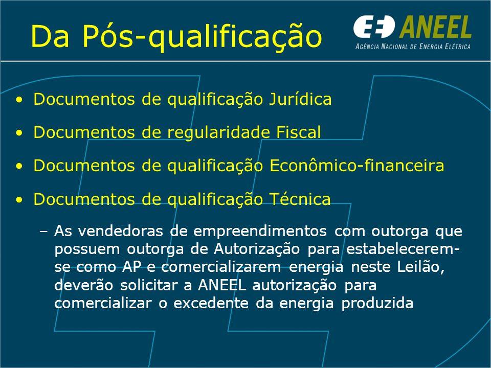 Da Pós-qualificação Documentos de qualificação Jurídica Documentos de regularidade Fiscal Documentos de qualificação Econômico-financeira Documentos d