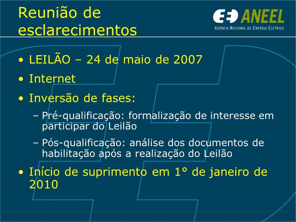 Reunião de esclarecimentos LEILÃO – 24 de maio de 2007 Internet Inversão de fases: –Pré-qualificação: formalização de interesse em participar do Leilã