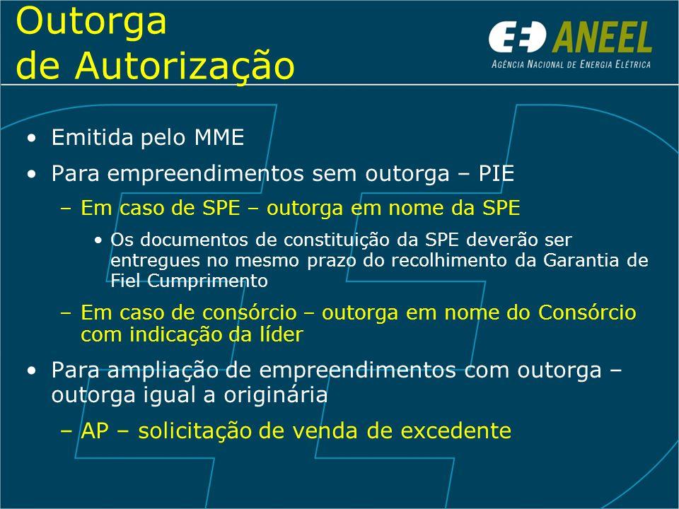 Outorga de Autorização Emitida pelo MME Para empreendimentos sem outorga – PIE –Em caso de SPE – outorga em nome da SPE Os documentos de constituição