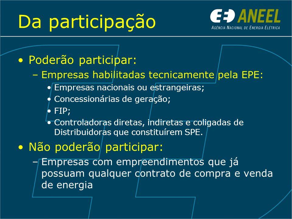 Da participação Poderão participar: –Empresas habilitadas tecnicamente pela EPE: Empresas nacionais ou estrangeiras; Concessionárias de geração; FIP;
