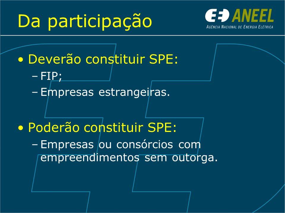 Da participação Deverão constituir SPE: –FIP; –Empresas estrangeiras. Poderão constituir SPE: –Empresas ou consórcios com empreendimentos sem outorga.