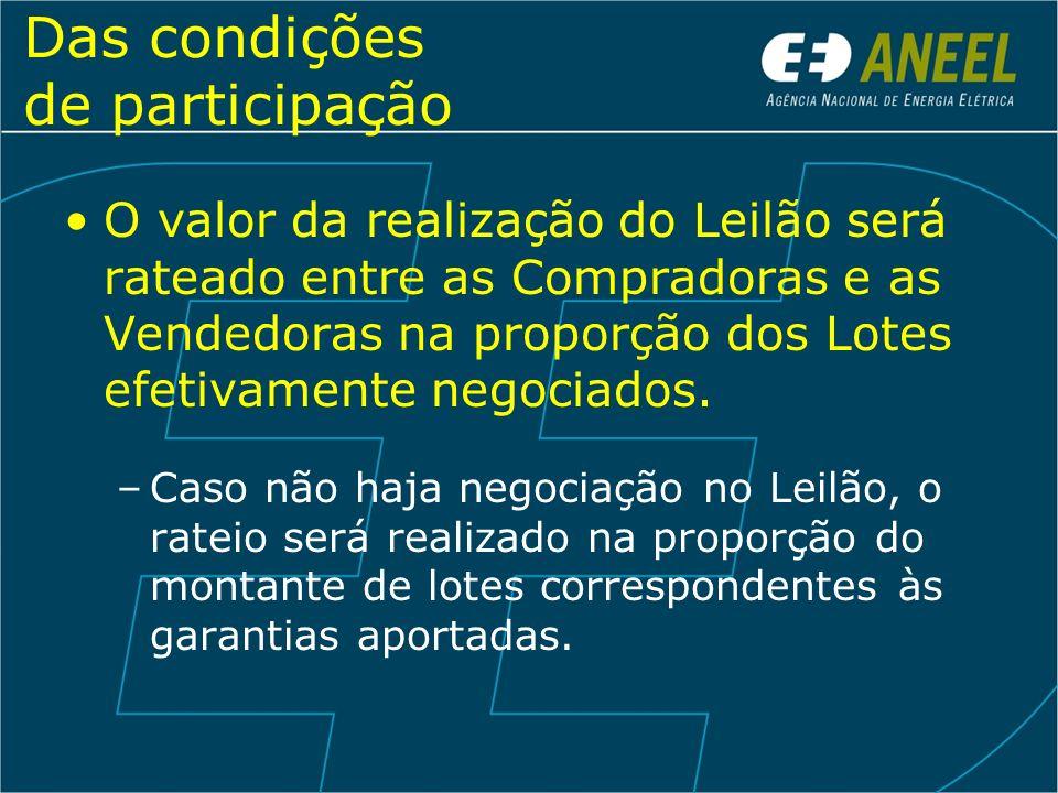 Das condições de participação As vendedoras que negociarem energia no Leilão deverão: –Aderir à CCEE; –Obedecer aos Procedimentos de Rede do ONS, no que for aplicável.