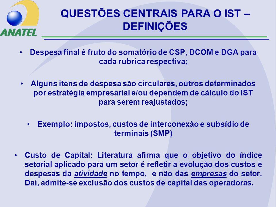 Despesa final é fruto do somatório de CSP, DCOM e DGA para cada rubrica respectiva; Alguns itens de despesa são circulares, outros determinados por es