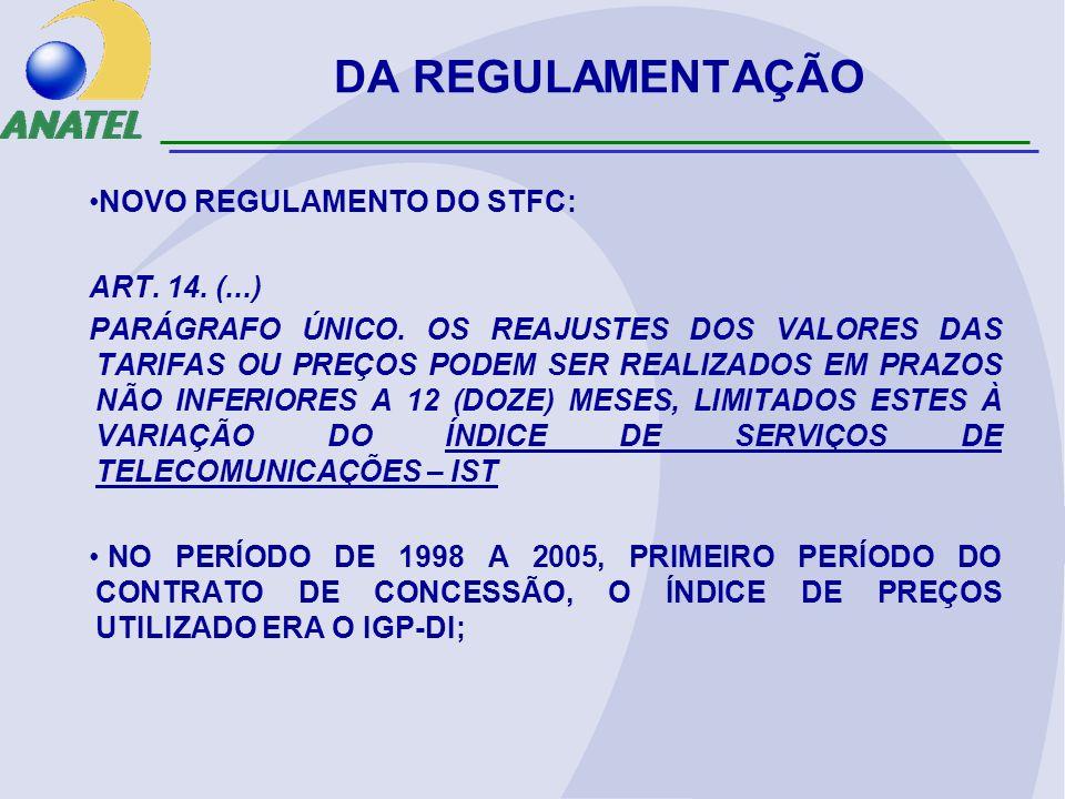 DA REGULAMENTAÇÃO NOVO REGULAMENTO DO STFC: ART. 14. (...) PARÁGRAFO ÚNICO. OS REAJUSTES DOS VALORES DAS TARIFAS OU PREÇOS PODEM SER REALIZADOS EM PRA