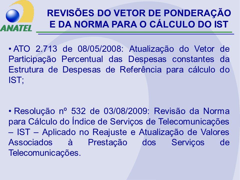 REVISÕES DO VETOR DE PONDERAÇÃO E DA NORMA PARA O CÁLCULO DO IST ATO 2.713 de 08/05/2008: Atualização do Vetor de Participação Percentual das Despesas