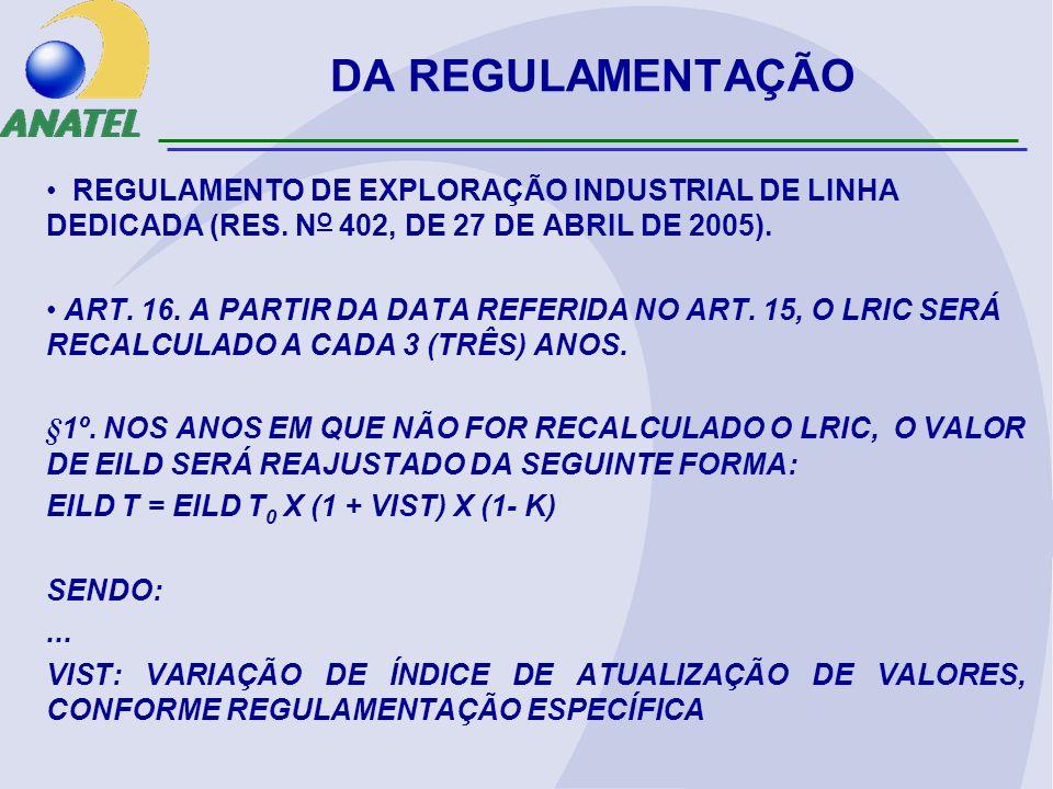 DA REGULAMENTAÇÃO REGULAMENTO DE EXPLORAÇÃO INDUSTRIAL DE LINHA DEDICADA (RES. N O 402, DE 27 DE ABRIL DE 2005). ART. 16. A PARTIR DA DATA REFERIDA NO