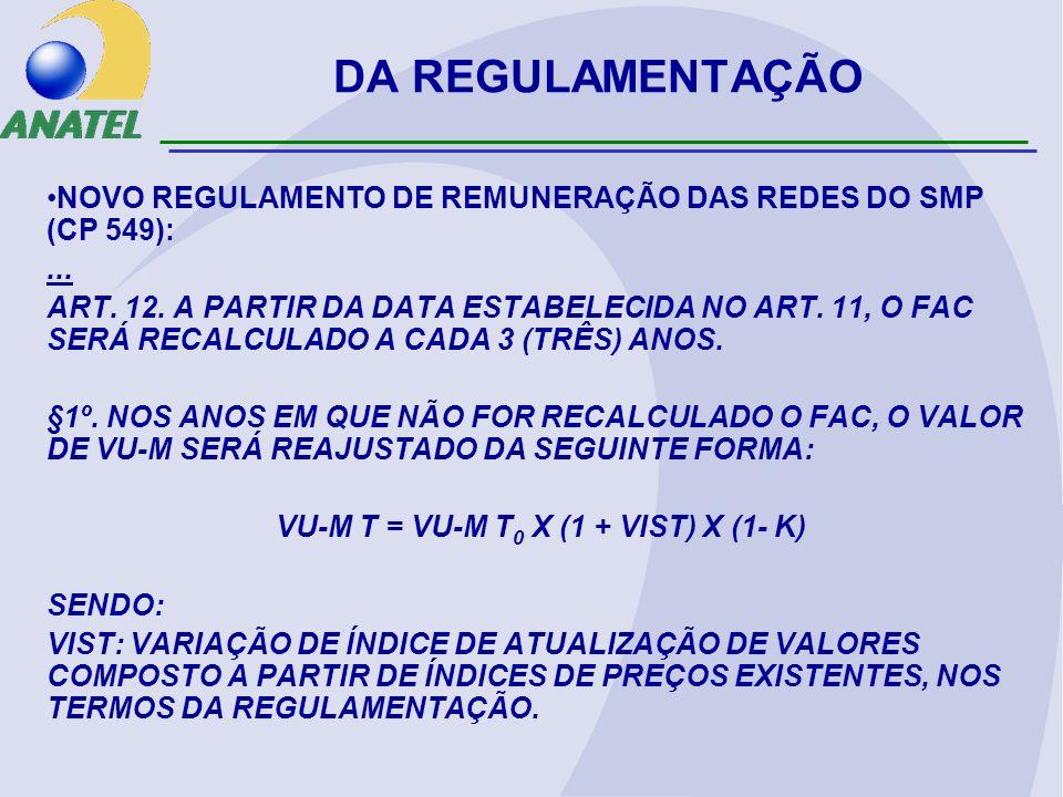 DA REGULAMENTAÇÃO NOVO REGULAMENTO DE REMUNERAÇÃO DAS REDES DO SMP (CP 549):... ART. 12. A PARTIR DA DATA ESTABELECIDA NO ART. 11, O FAC SERÁ RECALCUL