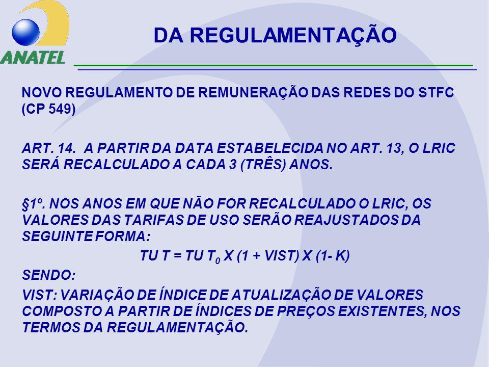 DA REGULAMENTAÇÃO NOVO REGULAMENTO DE REMUNERAÇÃO DAS REDES DO STFC (CP 549) ART. 14. A PARTIR DA DATA ESTABELECIDA NO ART. 13, O LRIC SERÁ RECALCULAD