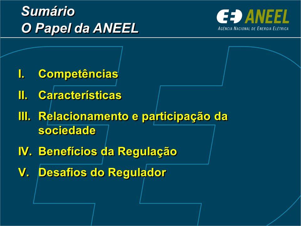 Sumário O Papel da ANEEL Sumário O Papel da ANEEL I.Competências II.Características III.Relacionamento e participação da sociedade IV.Benefícios da Re