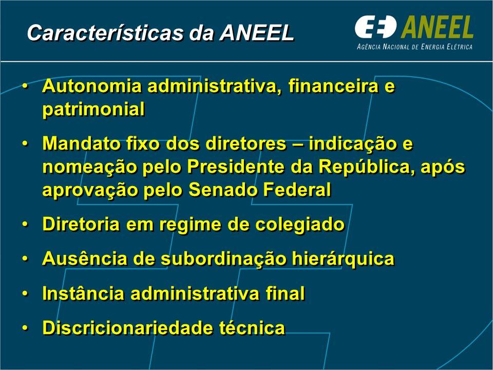 Autonomia administrativa, financeira e patrimonial Mandato fixo dos diretores – indicação e nomeação pelo Presidente da República, após aprovação pelo